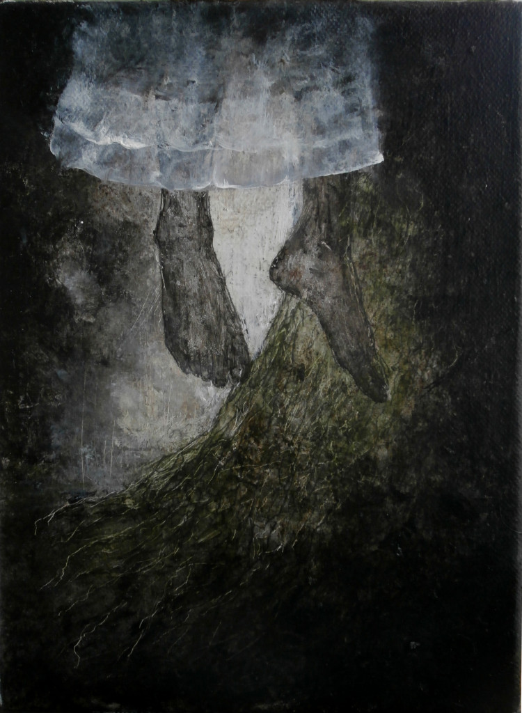 Girl in a Tree, 24x18 cm, pencil, acrylic and oil on canvas, WOODLANDS, 2015