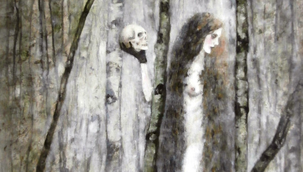 Two Sisters, 180×90 cm, charcoal, pencil, acrylic and oil on canvas, WOODLANDS, 2015