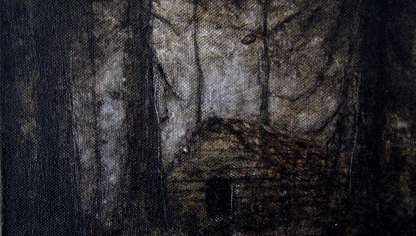 Blockhütte#1, oil and acrylic on canvas, 24x30 cm, 2009