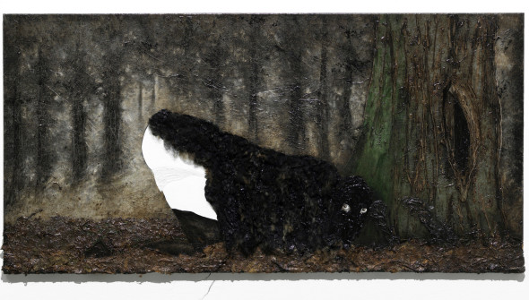 Das Schaf (the Sheep), oil, acrylic, sheepskin and leaves on canvas, 90x180 cm, 2011 (Photo Bob Goedewaagen)