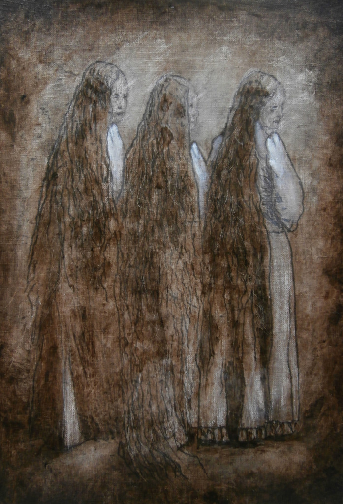 Les Trois Soeurs, 30×24 cm, oil and acrylic on paper, Ten Words And One Shot, (SOLD, collection Kevin Krumnikl, Germany) 2014