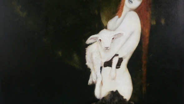 Das Lamm (the Lamb), oil, acrylic, and sheepskin on canvas, 170×130 cm, 2012