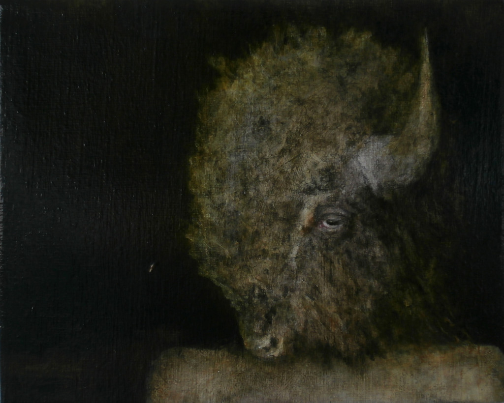 Buffalo#2, 24x30 cm, pencil, charcoal and oil on canvas, 2017