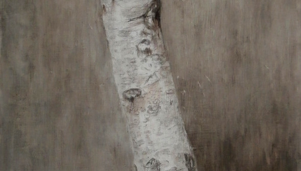 Tree#1, 200x90 cm, pencil, charcoal and oil on canvas, 2017