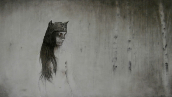 Bat, 90x200 cm, pencil, charcoal and oil on canvas, 2017