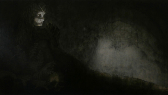 Sisters#2, 90x180 cm, pencil, charcoal and oil on canvas, 2017