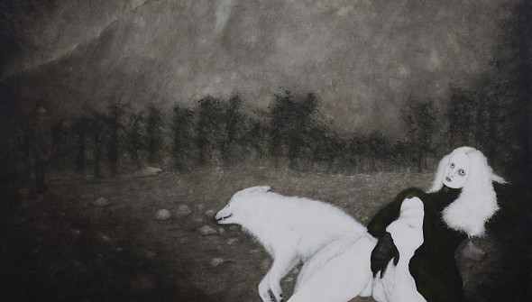 Der Wolf (the Wolf), oil, acrylic and blood on canvas, 170×200 cm, 2012