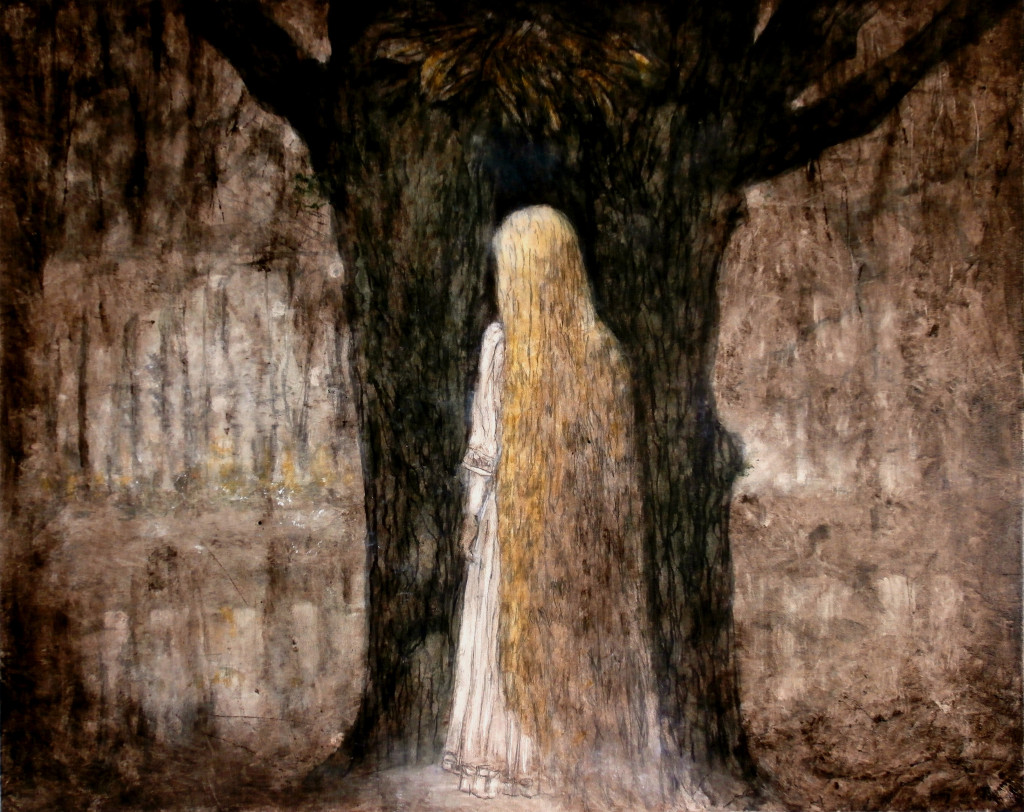 Lady and a Tree, 100x130 cm, pencil and oil on canvas, 2015.