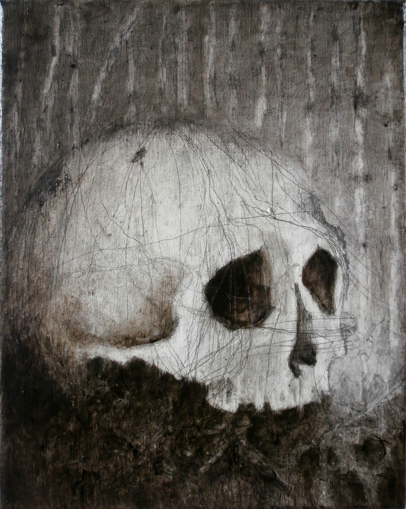 Skull#2, 30x24 cm, pencil and oil on canvas, 2017.