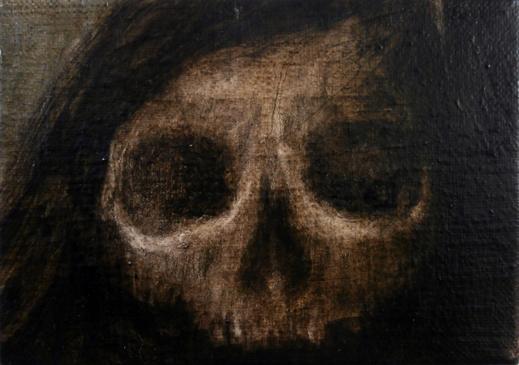 Skull#3, 13x18 cm, pencil and oil on canvas, 2019.