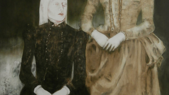 Sisters#4, 170x110 cm, pencil, charcoal, conté and oil on canvas, 2019