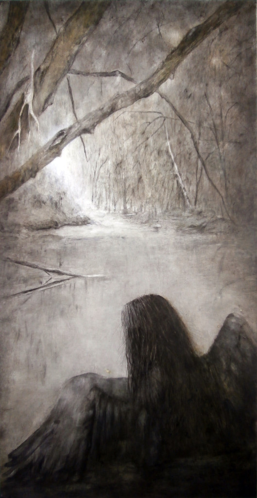 Trees, 170x90 cm,pencil and oil on canvas, 2018.