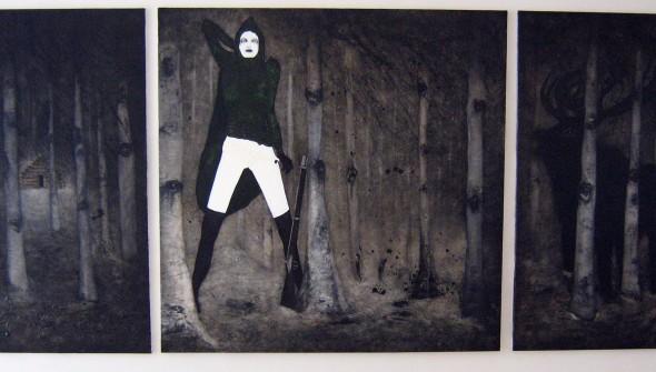 Der Jäger (triptiek) (The Hunter), oil, acrylic and leaves on canvas, 180x400 cm