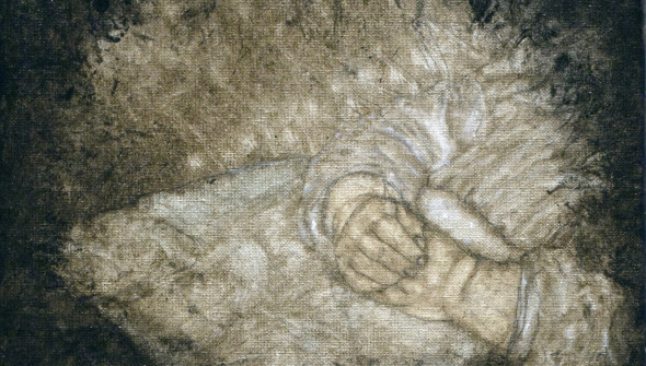 DEAD CHILD, 30×30 cm, oil and acrylic on canvas.