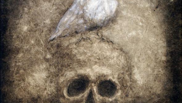 DEATH, 30×30 cm, oil and acrylic on canvas.