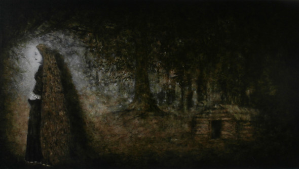 Lady and a Shadow, Lady and a Shadow, 60 x 110 cm, charcoal, pencil, oil and acrylic on canvas, WOODLAND, 2015