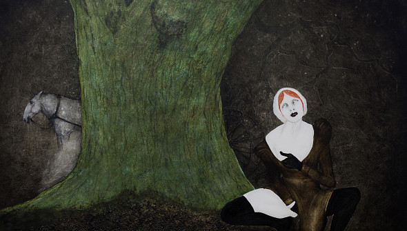 Das Pferd (the Horse), oil, acrylic and leaves on canvas, 170x190 cm, 2009