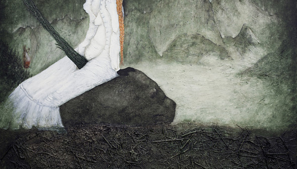 Das Rotkehlchen (the Robin), oil, acrylic, pubic hair and branches on canvas, 170×190 cm, 2011.