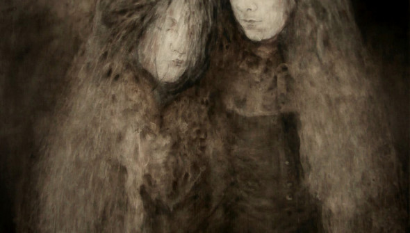 Two Sisters#2, pencil, charcoal and oil on canvas, 2015