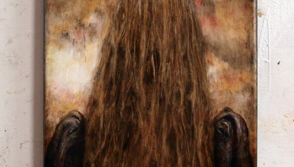 Girl#7, 30×24 cm, pencil, conté, charcoal and oil on canvas, 2021.