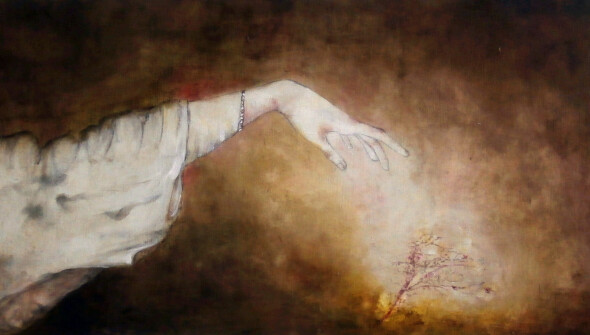 Hurricane#9, 50x150 cm, pencil, conté and oil on canvas, 2021